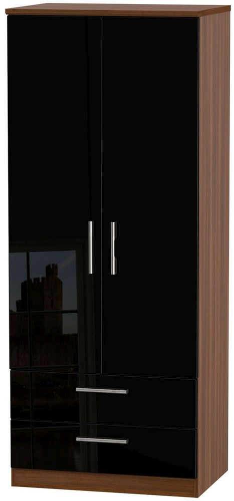 Knightsbridge High Gloss Black and Noche Walnut Wardrobe - 2ft 6in with 2 Drawer