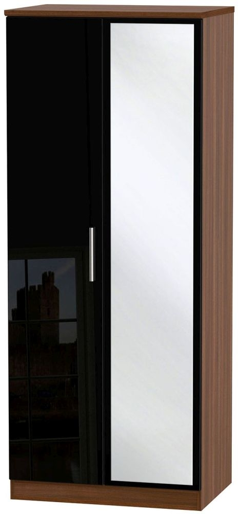 Knightsbridge High Gloss Black and Noche Walnut Wardrobe - 2ft 6in with Mirror