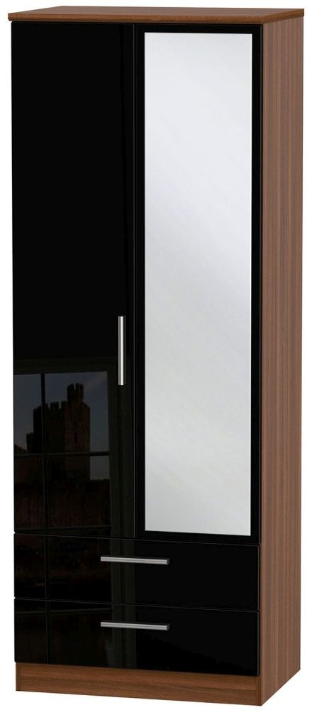 Knightsbridge High Gloss Black and Noche Walnut Wardrobe - Tall 2ft 6in with 2 Drawer and Mirror
