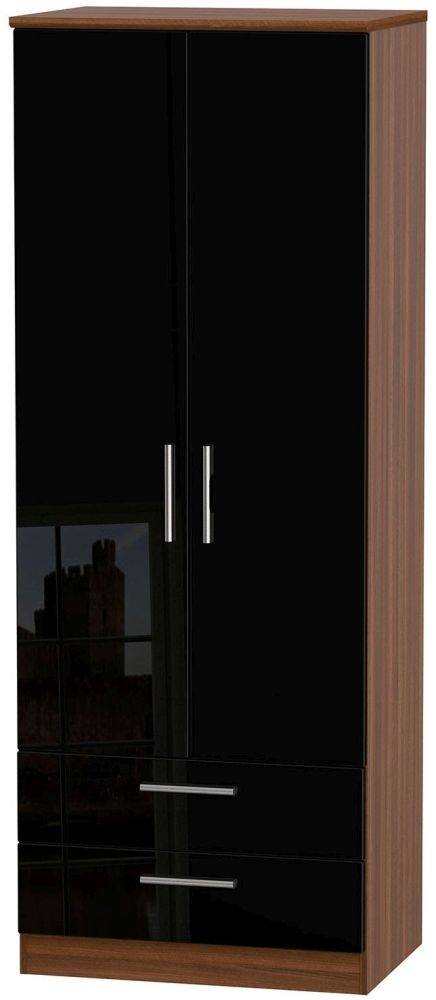 Knightsbridge High Gloss Black and Noche Walnut Wardrobe - Tall 2ft 6in with 2 Drawer