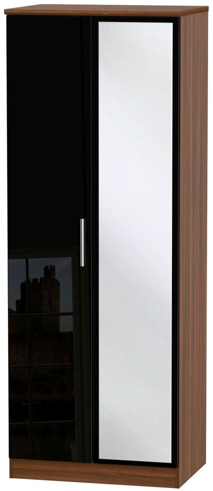 Knightsbridge High Gloss Black and Noche Walnut Wardrobe - Tall 2ft 6in with Mirror