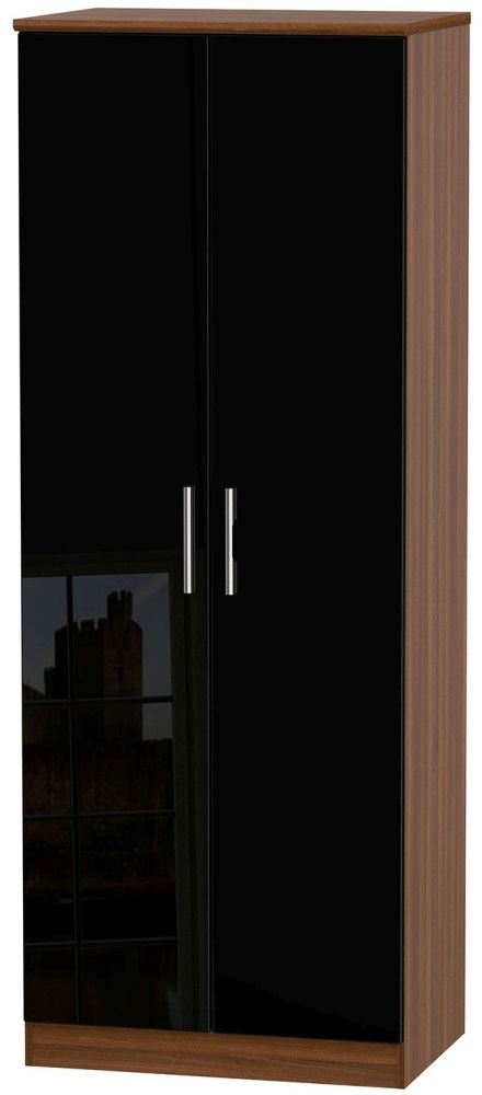 Knightsbridge High Gloss Black and Noche Walnut Wardrobe - Tall 2ft 6in with Double Hanging