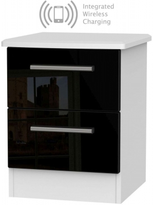 Knightsbridge 2 Drawer Bedside Cabinet with Integrated Wireless Charging - High Gloss Black and White
