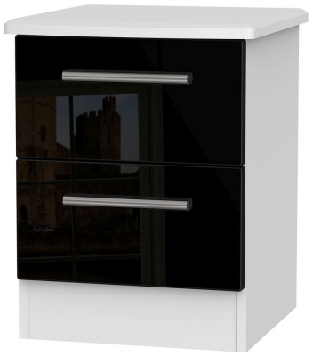 Knightsbridge 2 Drawer Bedside Cabinet - High Gloss Black and White
