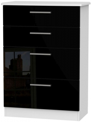 Knightsbridge High Gloss Black and White Chest of Drawer - 4 Drawer Deep