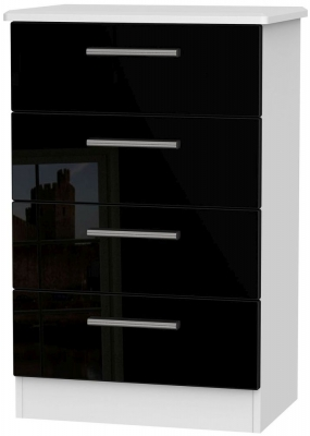 Knightsbridge High Gloss Black and White Chest of Drawer - 4 Drawer Midi