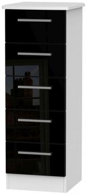 Knightsbridge 5 Drawer Tall Chest - High Gloss Black and White