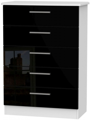Knightsbridge High Gloss Black and White Chest of Drawer - 5 Drawer
