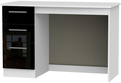 Knightsbridge High Gloss Black and White Desk - 3 Drawer