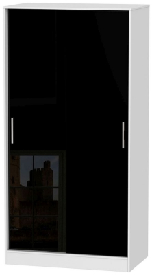 Knightsbridge High Gloss Black and White Sliding Wardrobe - Wide