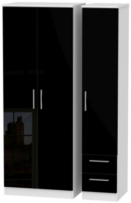 Knightsbridge High Gloss Black and White Triple Wardrobe - Tall Plain with 2 Drawer