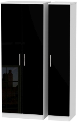 Knightsbridge High Gloss Black and White Triple Wardrobe - Tall Plain