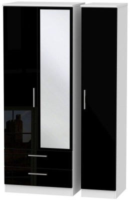 Knightsbridge High Gloss Black and White Triple Wardrobe - Tall with 2 Drawer and Mirror