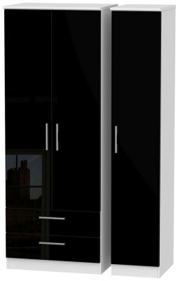 Knightsbridge High Gloss Black and White Triple Wardrobe - Tall with 2 Drawer