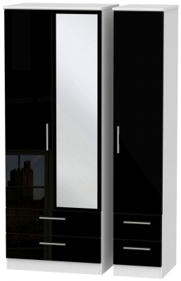 Knightsbridge High Gloss Black and White Triple Wardrobe - Tall with Drawer and Mirror