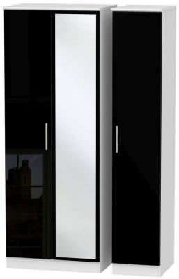 Knightsbridge 3 Door Tall Mirror Wardrobe - High Gloss Black and White