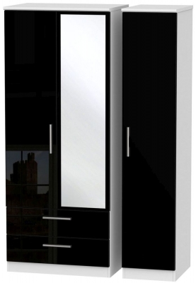 Knightsbridge High Gloss Black and White Triple Wardrobe with 2 Drawer and Mirror