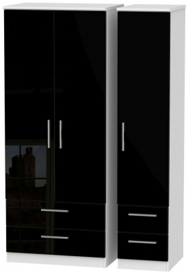 Knightsbridge High Gloss Black and White Triple Wardrobe with Drawer