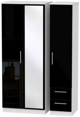 Knightsbridge High Gloss Black and White Triple Wardrobe with Mirror and 2 Drawer