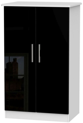 Knightsbridge High Gloss Black and White Wardrobe - 2ft 6in Plain Midi