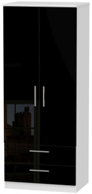 Knightsbridge High Gloss Black and White Wardrobe - 2ft 6in with 2 Drawer