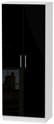 Knightsbridge High Gloss Black and White Wardrobe - Tall 2ft 6in Plain