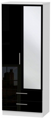 Knightsbridge 2 Door Tall Combi Wardrobe - High Gloss Black and White