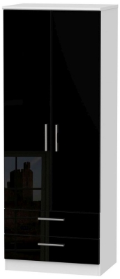 Knightsbridge High Gloss Black and White Wardrobe - Tall 2ft 6in with 2 Drawer