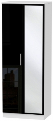 Knightsbridge 2 Door Tall Mirror Wardrobe - High Gloss Black and White