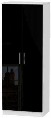 Knightsbridge 2 Door Tall Hanging Wardrobe - High Gloss Black and White