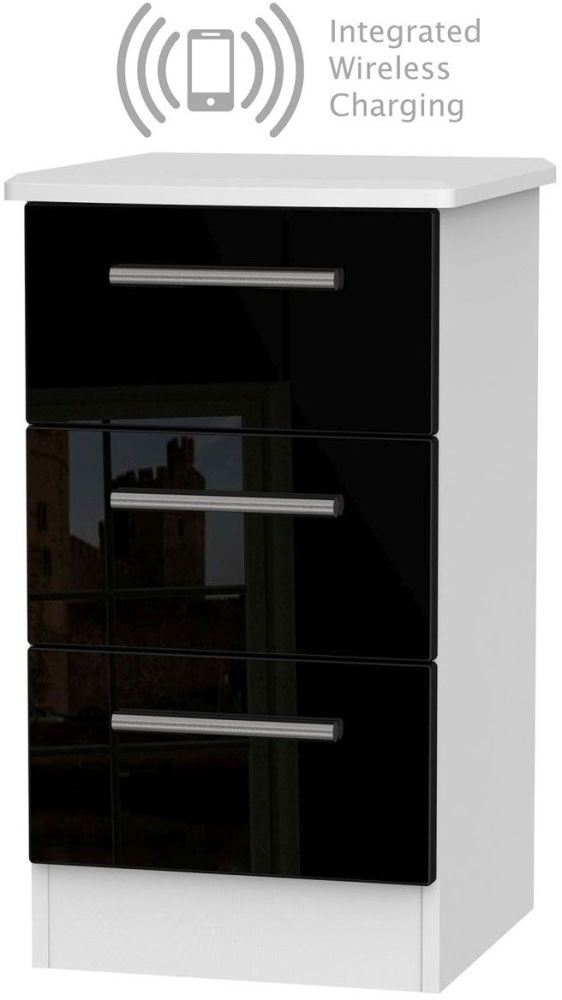 Knightsbridge 3 Drawer Bedside Cabinet with Integrated Wireless Charging - High Gloss Black and White