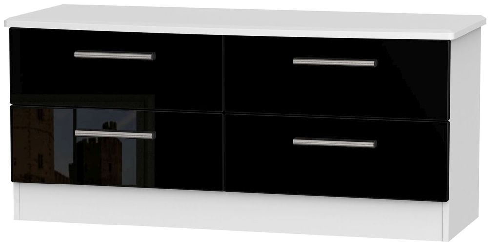 Knightsbridge High Gloss Black and White Bed Box - 4 Drawer