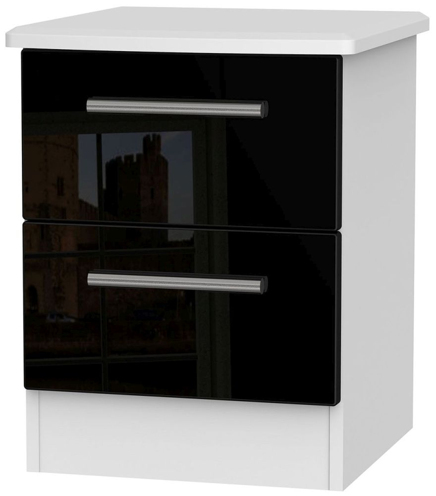 Knightsbridge High Gloss Black and White 2 Drawer Locker Bedside Cabinet