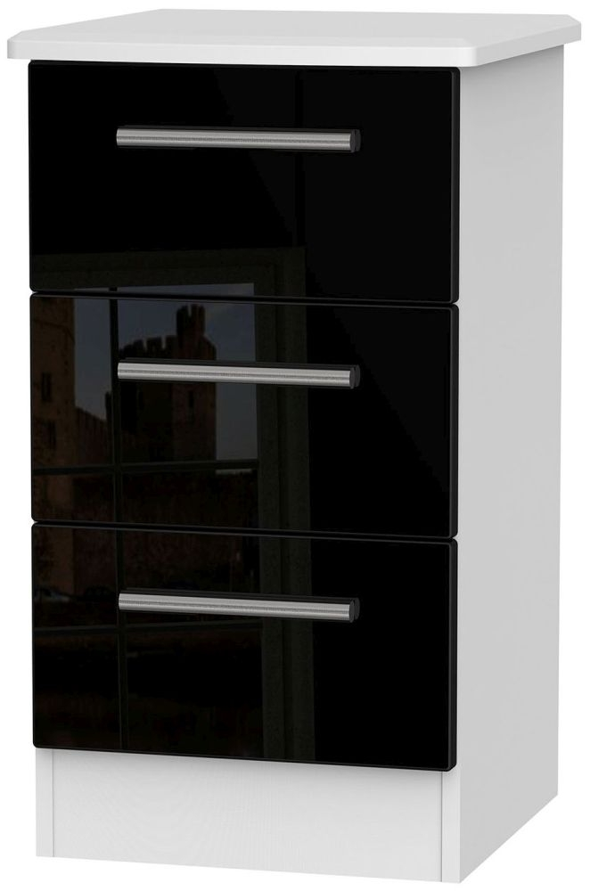 Knightsbridge High Gloss Black and White Bedside Cabinet - 3 Drawer Locker