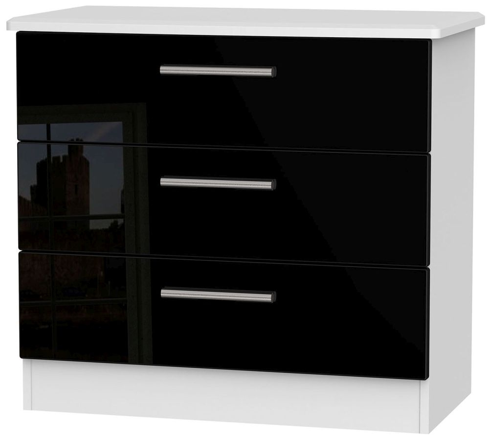 Knightsbridge High Gloss Black and White Chest of Drawer - 3 Drawer