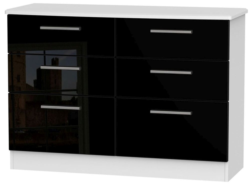 Knightsbridge High Gloss Black and White 6 Drawer Midi Chest