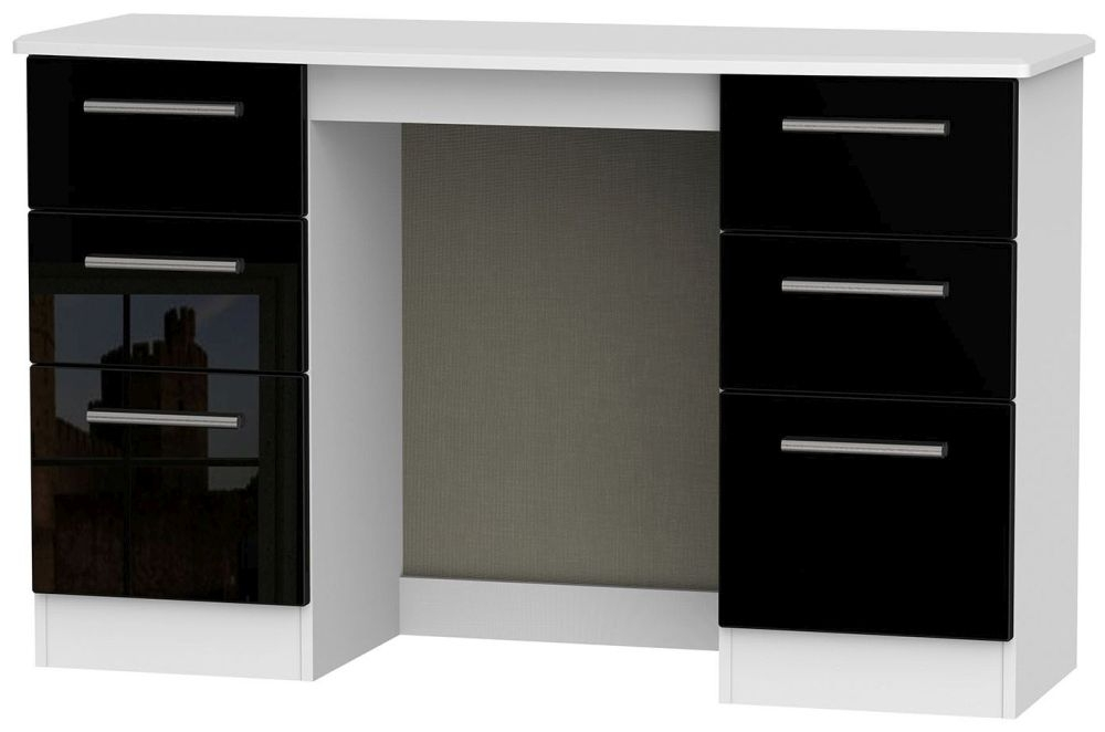 Knightsbridge High Gloss Black and White Dressing Table - Knee Hole Double Pedestal