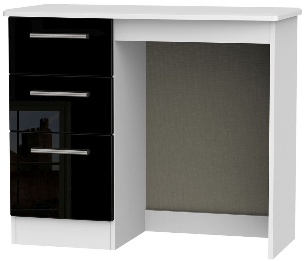 Knightsbridge High Gloss Black and White Dressing Table - Vanity Knee Hole