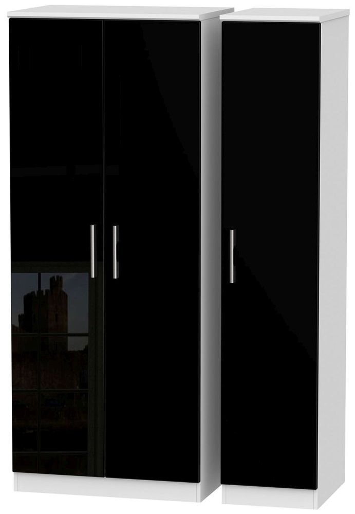 Knightsbridge High Gloss Black and White Triple Plain Wardrobe