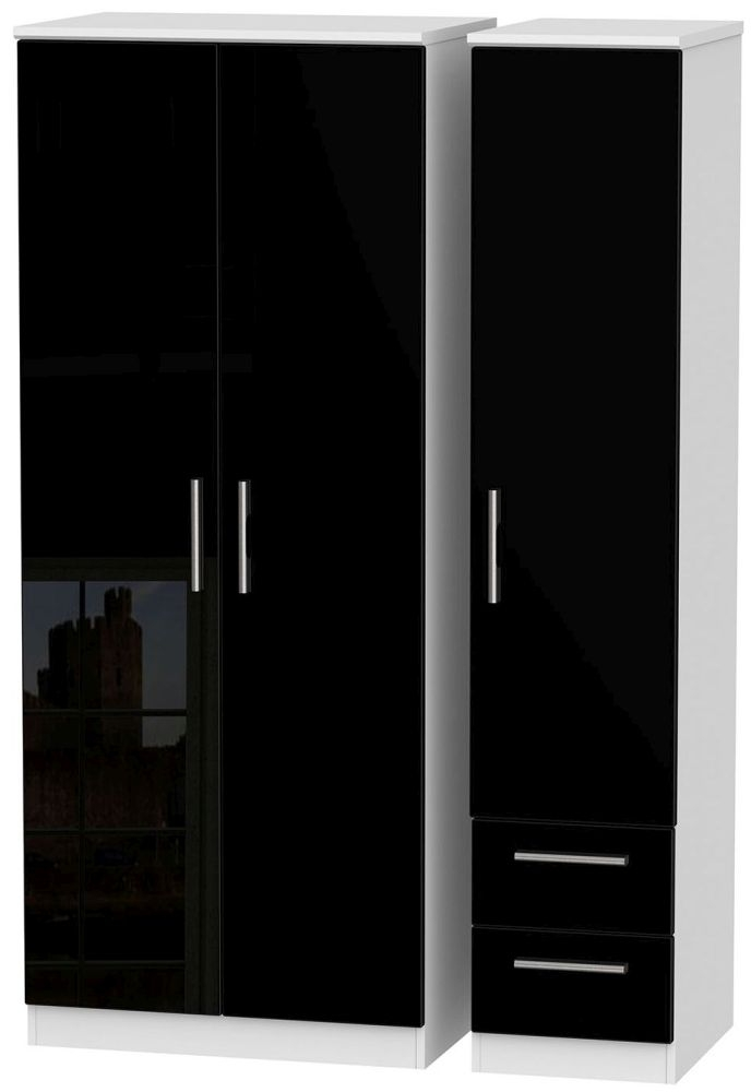 Knightsbridge 3 Door 2 Right Drawer Wardrobe - High Gloss Black and White