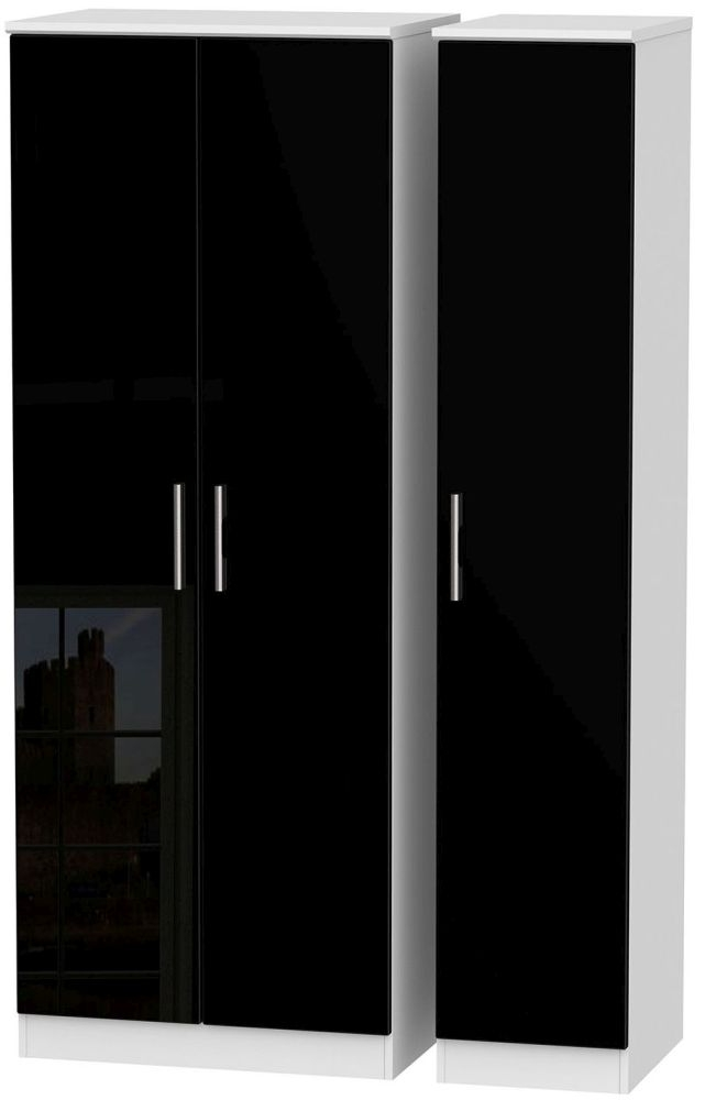 Knightsbridge 3 Door Tall Wardrobe - High Gloss Black and White