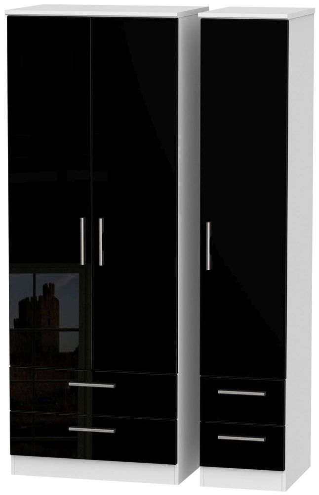 Knightsbridge High Gloss Black and White Triple Wardrobe - Tall with Drawer