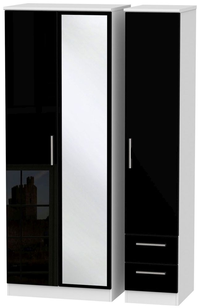 Knightsbridge High Gloss Black and White Triple Wardrobe - Tall with Mirror and 2 Drawer