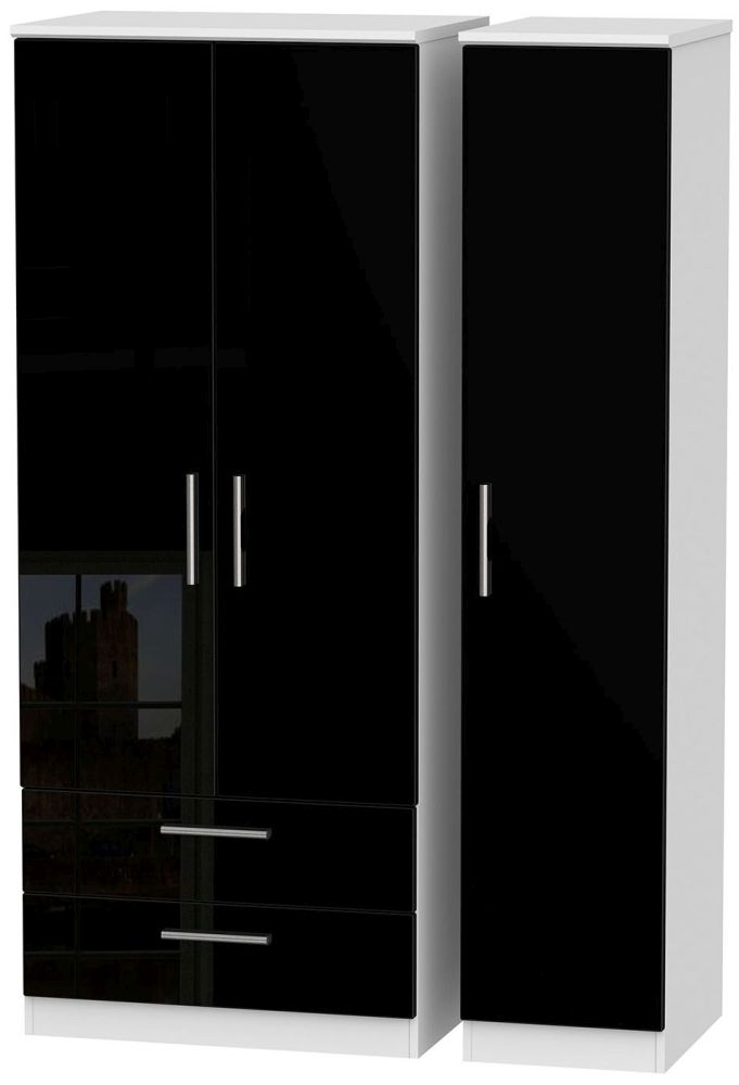 Knightsbridge High Gloss Black and White Triple Wardrobe with 2 Drawer