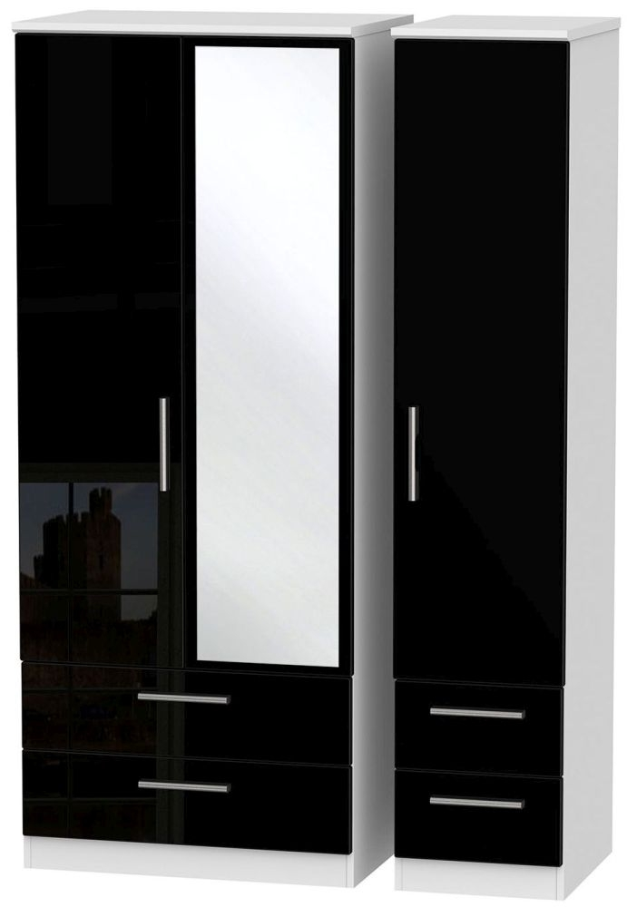 Knightsbridge High Gloss Black and White Triple Wardrobe with Drawer and Mirror
