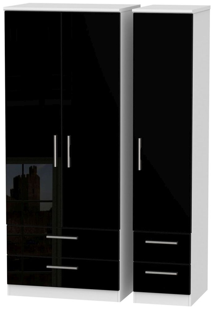 Knightsbridge 3 Door 4 Drawer Wardrobe - High Gloss Black and White