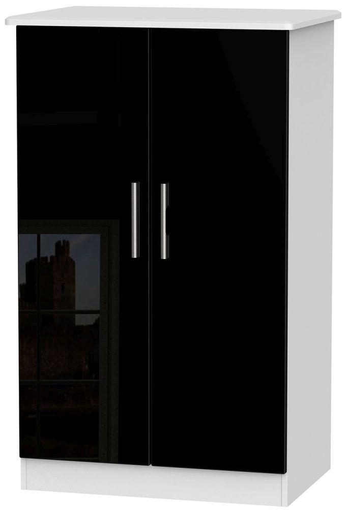 Knightsbridge High Gloss Black and White Wardrobe - 2ft 6in Plain Midi