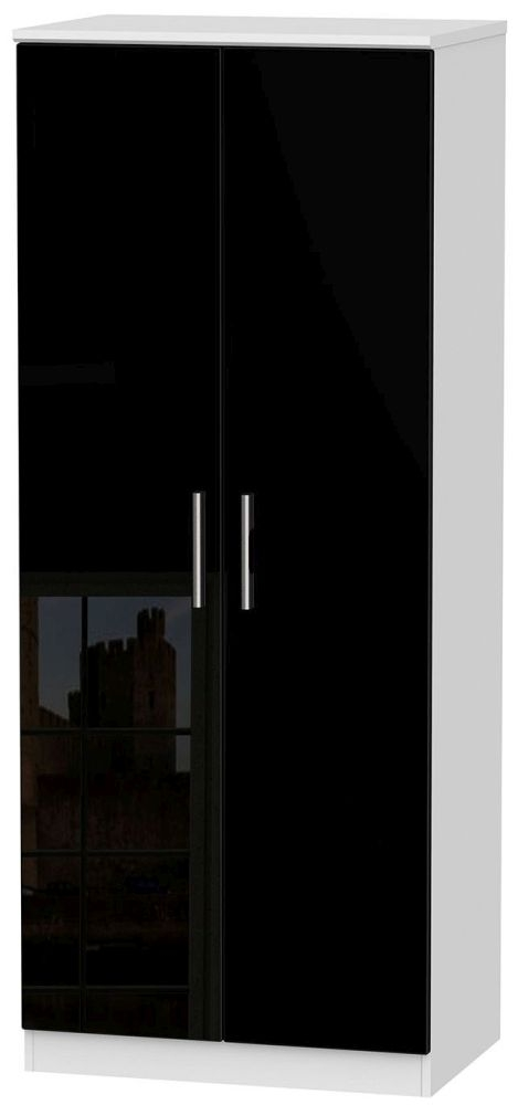 Knightsbridge 2 Door Plain Wardrobe - High Gloss Black and White