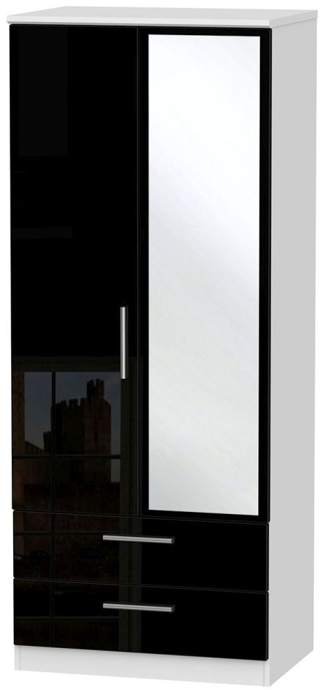Knightsbridge High Gloss Black and White Wardrobe - 2ft 6in with 2 Drawer and Mirror