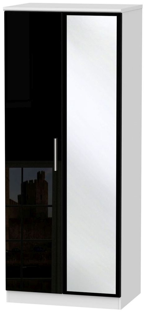 Knightsbridge High Gloss Black and White Wardrobe - 2ft 6in with Mirror